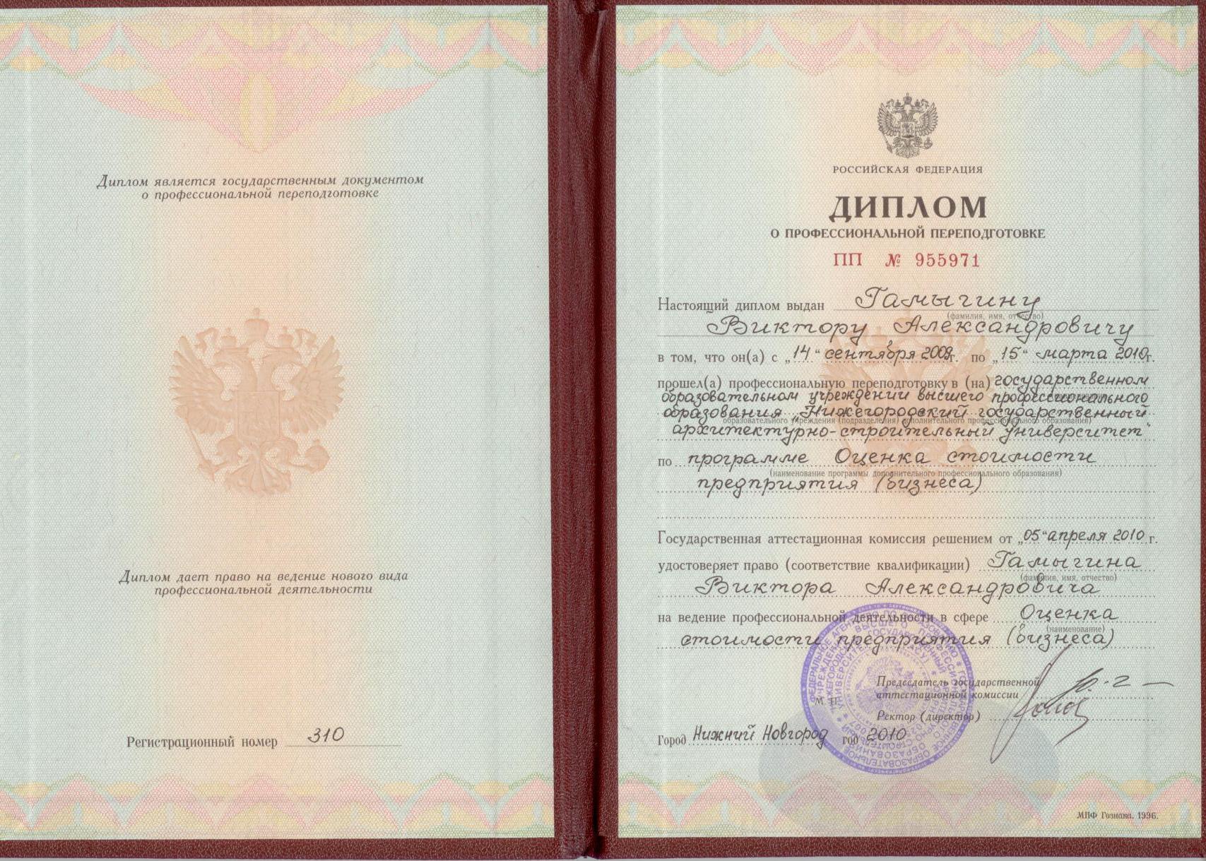 Гамыгин Виктор Александрович Диплом МИПК ННГАСУ по специальности Оценка стоимости бизнеса предприятия